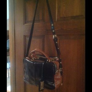 Bagdley Mischka black and brown leather satchel